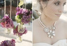 a cluster of brooches mixed with pearls give a vintage feminine touch