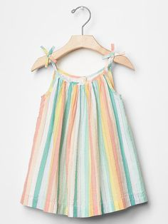 Love these colors with the simple design... Pastel stipe bow dress