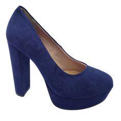Sapato Plataforma Offline Camurça Azul Marinho(cód. 20620179)