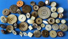 45 Antique Vintage MOP Pearl BUTTONS Victorian CUT STEEL Carved OPENWORK Old She