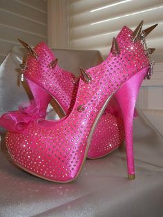 High Heel Platform Spiked Women Shoes Hot Pink size 6 by Spikesbyg, $90.00  #cuteshoes #womensclothing #womensfashion
