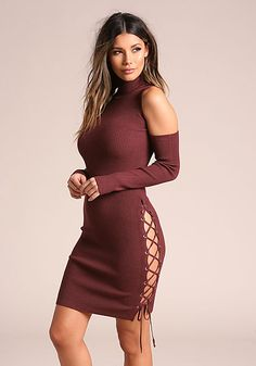 2541d979c9 Burgundy Side Lace Up Cold Shoulder Bodycon Dress Club Outfits