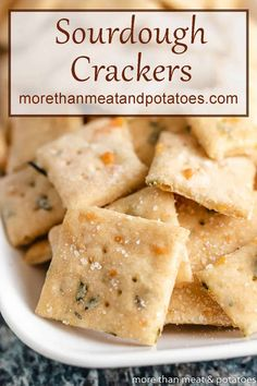 Homemade sourdough crackers flavored with Parmesan cheese, fresh herbs, and sea salt. They're perfect for soups, salads, or as a tasty snack! Sourdough Pancakes, Sourdough Recipes, Sourdough Bread, Bread Recipes, Yummy Snacks, Snack Recipes, Yummy Food, Tasty, Yummy Recipes