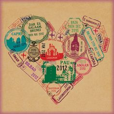 PAPER TRAIL: Hannah Lloyd's passport stamp graphics.