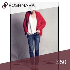 """New Listing! Anthropologie Emile Cardigan Gorgeous red Emile cardigan by Moth. """" We love a sweater that knows how to cozy up. For a boy-meets-girl look, try Moth's wonderfully fuzzy, lodge-ready cardio with distressed denim and pretty pumps"""". Front pockets, button front, made of nylon, wool and polyester. Extra button included. Hand wash. Gently used but in great condition. Size medium- oversized- 20"""" across chest and 30"""" shoulder to hem. Get this beauty in time for the holiday season! This…"""