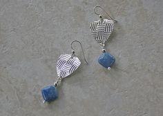 Sterling Patterned Denim Lapis Earrings
