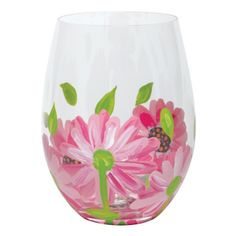 Ooops-A-Daisy Stemless Wine Glass | Hand Painted Stemless Wine Glass|Designs by Lolita | Official Lolita Store