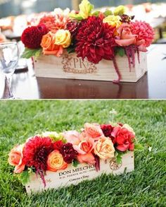reDesigned centerpiece in a wine box!  I heart it.