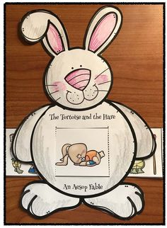 "Fables & Fairy Tales: Practice sequencing & retelling ""The Tortoise & the Hare"" (Aesop's Fables) with this cute bunny ""slider"" craft. Packet also includes a turtle option. Retelling Activities, Fairy Tale Activities, Craft Activities, Preschool Crafts, English Short Stories, Aesop's Fables, Easy Arts And Crafts, Tortoise, Storytelling"