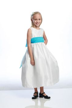 575176346f Girls Dress Style 519 - Poly Silk Dress in Choice of White or Ivory - BUILD