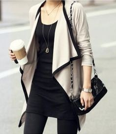 love these layers. for some reason never thought of doing a dress like this with tights and a long loose cardi