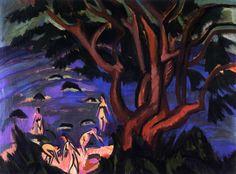 """ernstludwigkirchner: """" Roter Baum am Strand (1913) Privatbesitz """""""