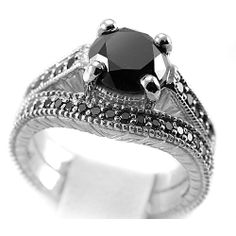 Jewelry Point - 3.20 Carat Fancy-Black Diamond Antique Style Engagement Ring Set, $1,720.00 (http://www.jewelrypoint.com/3-20-carat-fancy-black-diamond-antique-style-engagement-ring-set/)