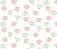 Mint and Pink Hearts fabric by annaliesbabyboutique on Spoonflower - custom fabric