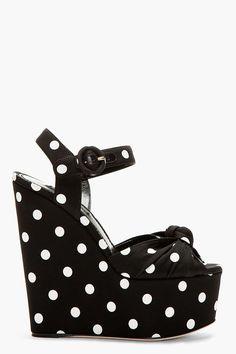Black & White Silk Polka Dot Bianca Wedges