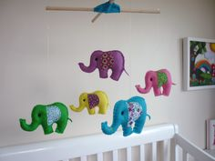 Baby elephants for baby - DIY mobile! Pink, gray and white for Stella's room?