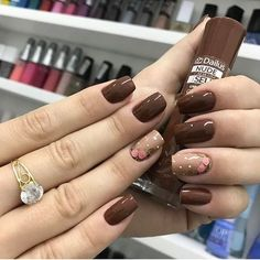 Squoval nails are same as square nails that have oval edges. Explore the trendiest squoval nail designs handpicked just for you. Brown Nail Art, Brown Nails, Pink Nails, Toe Nail Color, Fall Nail Colors, Pastel Colors, Square Nail Designs, Gel Nail Designs, Nails Design