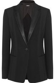 DKNYLeather-trimmed ponte and mesh blazer