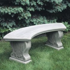 Campania International Curved Woodland Ferns Cast Stone Backless Garden Bench