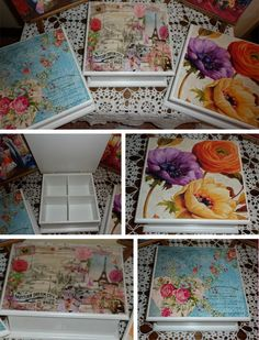CAJAS DE TÉ I Altered Cigar Boxes, Decoupage Box, Fabric Boxes, Diy Gift Box, Painted Boxes, Treasure Boxes, Fabric Painting, Vintage Wood, Art Decor