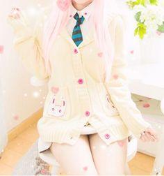 Cute kawaii rabbit plush sweater coat