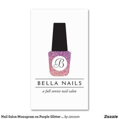 Customizable Nail Salon Business Card Features Stylish Purple/Pink Glitter Nail Polish Monogram Logo - Unique and Glamorous design ready for you to personalize!