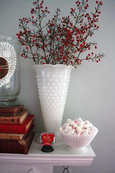 Berry sprigs in hobnail milk glass vase Valentine Decorations, Christmas Decorations, Seasonal Decor, Holiday Decor, Milk Glass Vase, Fenton Glass, Antique Glass, Antique Decor, Vintage Glassware