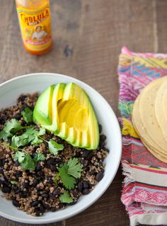 quinoa, black bean and avocado tacos