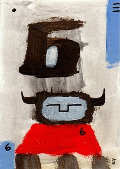sixes e9Art ACEO Outsider Folk Art Brut Painting Abstract Figurative Illustration