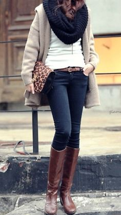 White tshirt, sparkly cardigan, black scarf, skinny jeans, tall Uggs