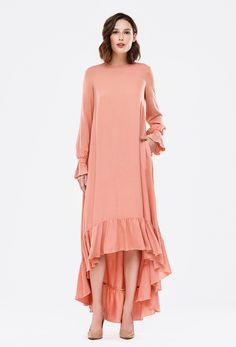 2879 Платье персиковое, юбка разной длины, рукава воланом купить в Украине, цена в каталоге интернет-магазина брендовой одежды Musthave
