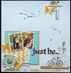 graphs, yellow chevron and butterflies by Elizabeth Carney for scrapbook circle