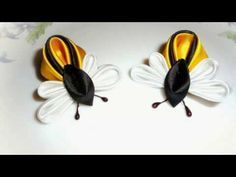 Flower Kanzashi Master Class hand made DIY Tutorial Канзаши МК Заколки бабочки - YouTube