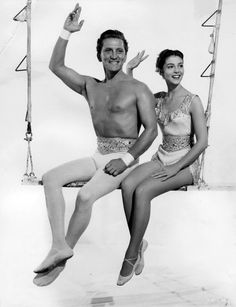 Kirk Douglas and Pier Angeli publicity for 'The Story of Three Loves', 1953.