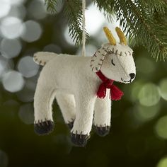 Sleepy Goat Felt Ornament in Animal Ornaments   Crate and Barrel