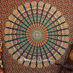 Green Mirchi Kali Bohemian Tapestry Wall Hanging Art Print by vedindia