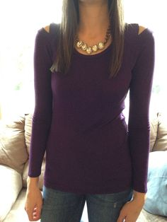 Loveappella-Caldwell Shoulder Cutout Knit Top **Janessa, I love this top. Burgundy/auburgine are some of my favorite colors. Plus, it's sexy without being too over the top. Boyfriend would love it