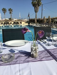 Pool-side wedding dining