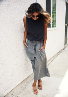 Culottes - Julie wearing Sincerely Jules 'Karlie' Tank, Aritzia Culottes and Rag & Bone 'Shaw' Mules.
