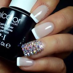 perfectly executed french tips and and perfect amount of sparkle on the accent nail...love them <3