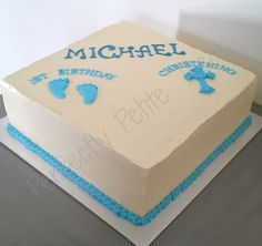 A large square Chocolate Cake for a joint first birthday and christening