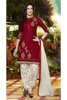 Fascinating Red Cotton Embroidered Work Patiala Salwar Suit