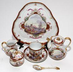 AUGUSTUS REX, MEISSEN PORCELAIN INDIVIDUAL TEA SET, 19TH C.