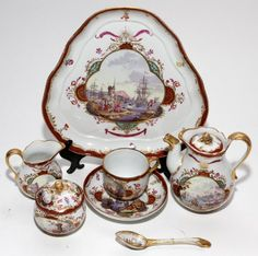 AUGUSTUS REX, MEISSEN PORCELAIN INDIVIDUAL TEA SET, 19TH C.