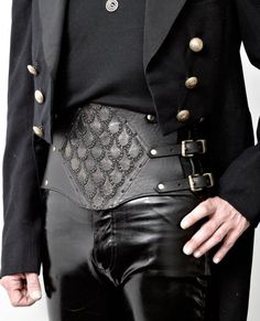 Sample Sale PriceMan's steampunk leather corset by ZahirasBoudoir, $275.00