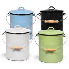 Mülleimer mit Deckel 10 Liter aus Haushaltemaille von Karl Krüger