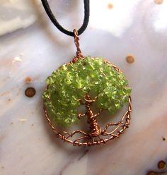 Copper Tree of Life necklace Pendant Peridot by mandalarain