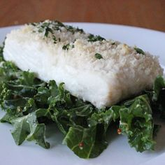 Perfect Post-Workout Dinner: Panko-Crusted Fish Over Kale