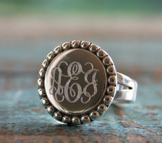 Sterling Silver Monogram ring....gotta love Etsy.