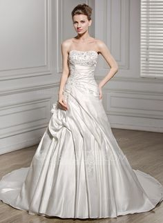A-Line/Princess Sweetheart Cathedral Train Satin Wedding Dress With Ruffle Beading Flower(s) Sequins (002056589) - JJsHouse